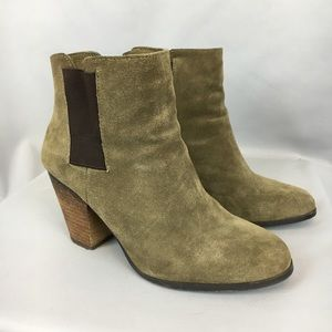 Sole Society Lylee Green Suede Ankle Booties